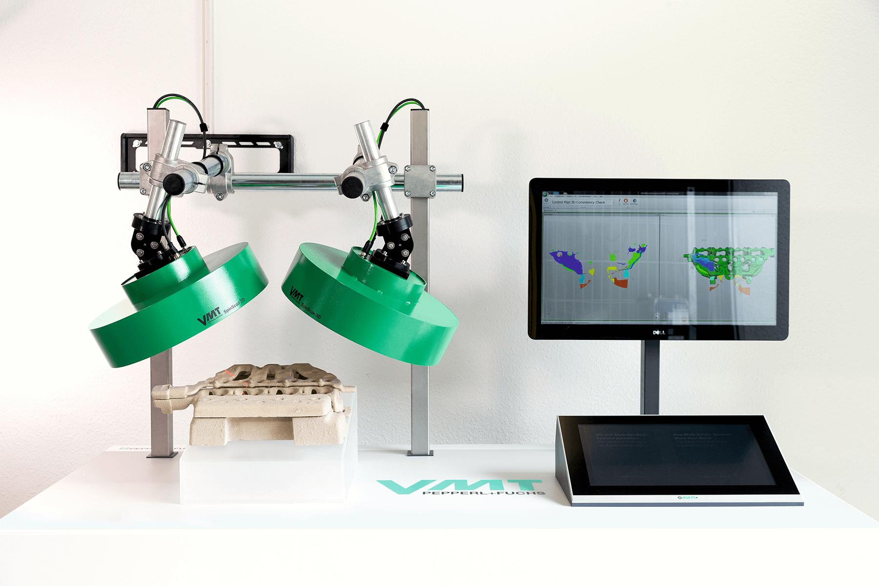 Mehrere SpinScan3D-Sensoren erfassen die Sandkerne aus allen Blickwinkeln