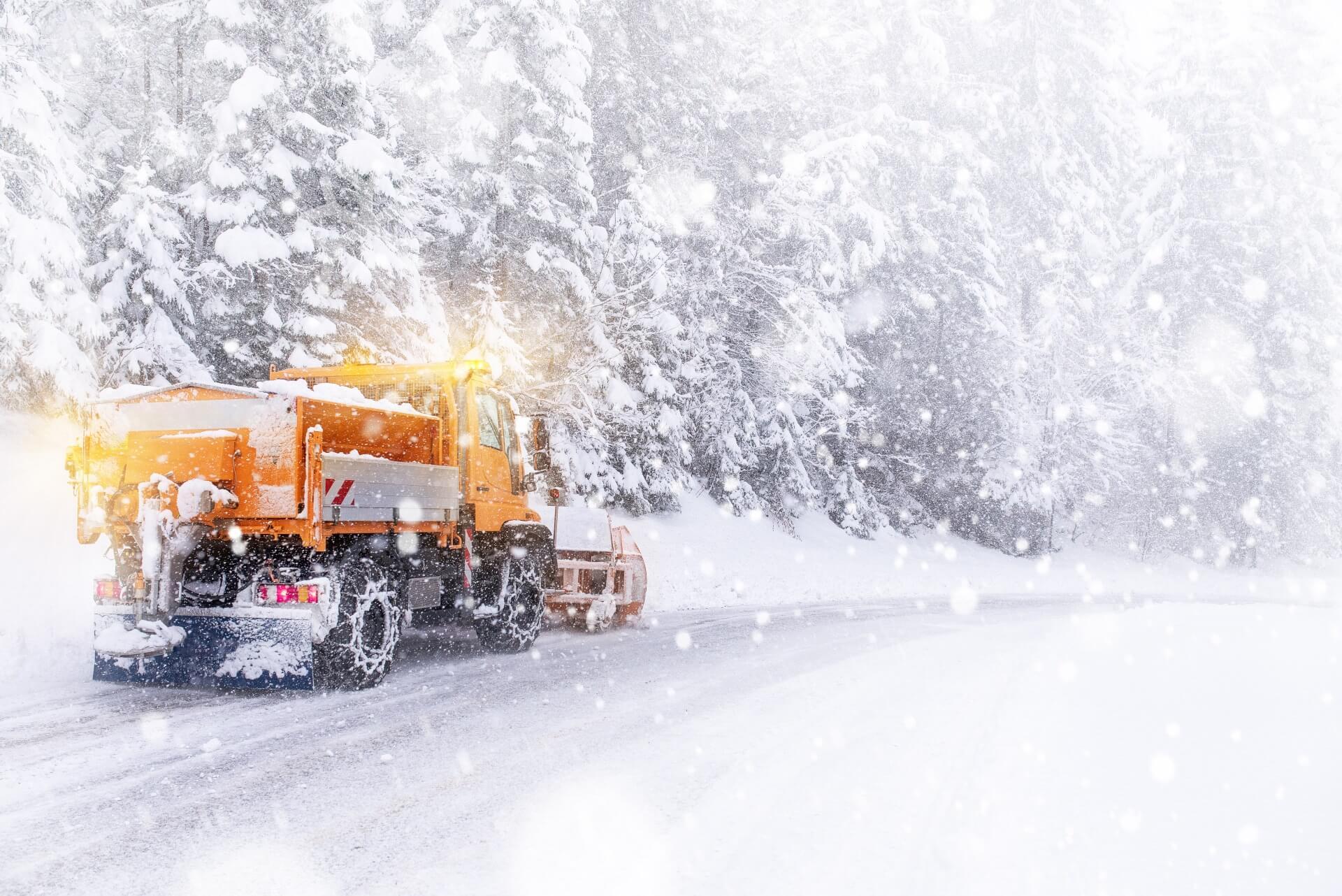 Snowplow on the road