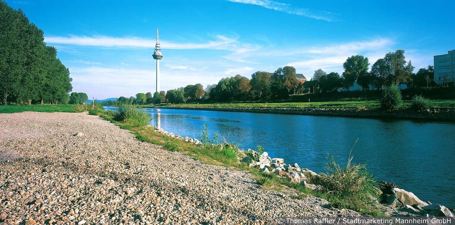 The Neckar as a place of relaxation and as a waterway for ships